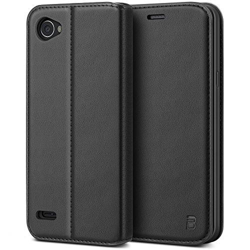 BEZ Hülle für LG Q6Hülle, Handyhülle Kompatibel für LG Q6Tasche, Case Schutzhüllen aus Klappetui mit Kreditkartenhaltern, Ständer, Magnetverschluss, Schwarz