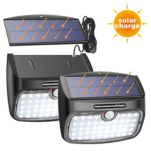 Especificaciones: LED: 48 pcs Material: plástico ABS Peso: 300g*2 Tamaño: 5.9*4.9*2 Inch Batería: 3.7V / 3000mAh Paneles solares: 6V / 1.3W Flujo: 700~800LM Ángulo de detección: 120° Distancia de detección: 5~8m Cambiar de modo: Tres en un solo modo ...