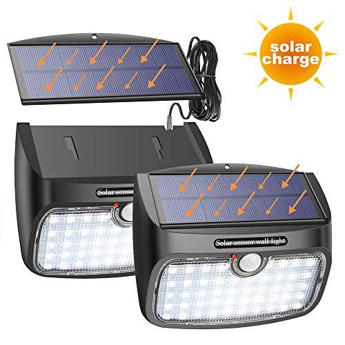 Solarleuchte mit Bewegungsmelder, Trennbare Solarpanel 48 LED 800lm Solarbetrieben mit 3 Modi 2.5m Verlängerungskabel Wasserdicht Sicherheitswandleuchte Solarlampe [2 Stück]