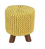 Homescapes Moderner Strick Sitzhocker gelb Fußhocker Schemel 32 x 32 x 42 cm mit gestricktem Baumwoll Bezug und Holzbeinen