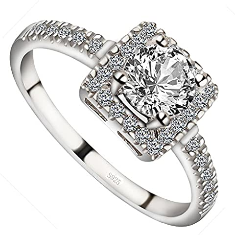 Meixao Engagement Rings Round Brilliant Cut Cubic Zirconia 925 Sterling Silver Rings Wedding Anniversary Gifts