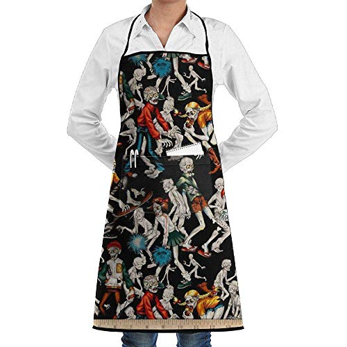 Drempad Schürzen Adjustable Bib Apron with Pockets - Commercial Restaurant and Home Kitchen Apron - Haunted House Zombie Print (Sexy Zombie Bilder)