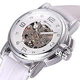 Winner Damen-Armbanduhr, automatisch, mechanisches Zifferblatt, weiße Ziffern