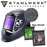 STAHLWERK ST-950XC Vollautomatik Schweißhelm, Optische Klasse: 1/1/1/1, extra großes Sichtfeld, 5 Jahre GARANTIE auf FILTER, inkl 5 Ersatzscheiben & Tasche