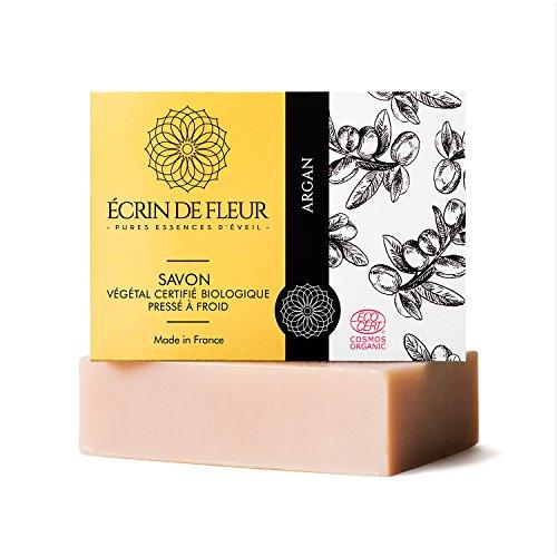 Weiche Hand Mit Tinte (Écrin de Fleur zertifizierte Bio-Arganseife - Arganöl-Seife mit weichen Noten von Zeder, Palmarosa und Teebaum - das ungiftige, SLS & chemikalienfreie Seifenstück, das die Haut geschmeidig macht und)