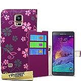Accessory Master- Viola Custodia Libro Portafoglio in pu Pelle per Samsung Galaxy Note 4 N910F - Fiori Rosa / Grigi