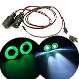 Axspeed 17mm 2 LEDs Angel Eyes Light Licht Scheinwerfer / Rücklicht für 1:10 RC Crawler Car (Grün + Weiß)
