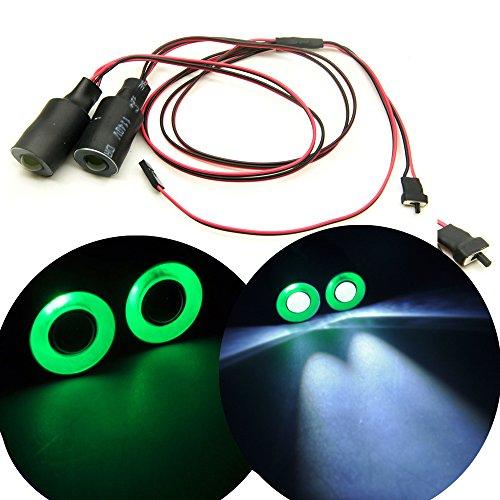Axspeed 17mm 2 LEDs Angel Eyes Light Licht Scheinwerfer / Rücklicht für 1:10 RC Crawler Car (Grün + Weiß) -