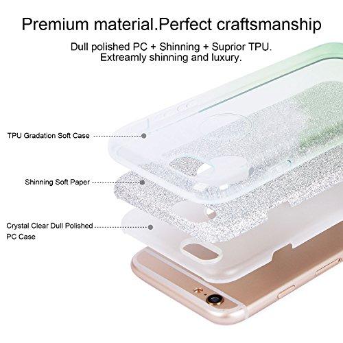 iPhone 5/5S/SE Hülle, Imikoko™ Glitzer Schutzhülle [Weiche TPU Abdeckung + Glitzer Papier + PP innere Schicht] [Drei in Einem] Hülle für iPhone 5/5S/SE(Farbverlauf rosa) Farbverlauf Grün