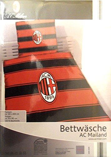 Bettwäsche Bettbezug AC Milan Lizenz Fußball Fan Neu OVP 135 x 200 cm (140x200 cm - 70x90 cm)