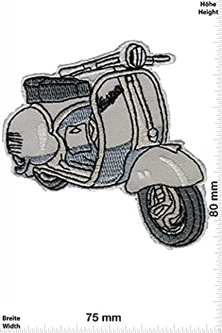 Patches - Vespa - Scooter - grey - Motorbike - Motorsport - Motorcycles - Biker - Iron on Patch - Applique embroidery Écusson brodé Costume Cadeau- Give Away
