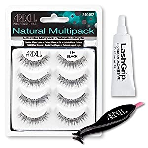 Ardell Fake Eyelashes Value Pack - Natural Multipack 110 (Black), LashGrip Strip Adhesive, Dual Lash Applicator - Everything You Need For Perfect False Eyelashes by Ardell