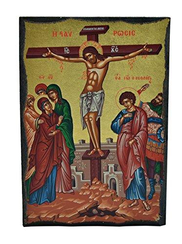 Icona del crocifisso Signore Gesù Cristo dipinta su legno. 12,5x9cm Икона распятие Господа Иисуса Христа написанная на дереве