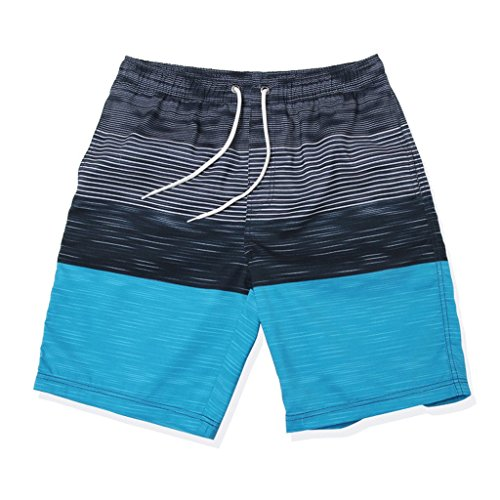 GWELL Herren Streifen Wasserdicht Badeshorts Beachshorts Boardshorts Badehose Sommer Strand blau M