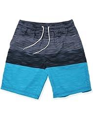 gwell Hombre Rayas resistente al agua Bañador beachs Pantalones Cortos Bañador para hombre Bañador Verano Playa Azul
