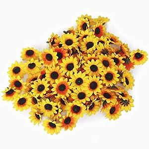 Beito 100 x Artificial Gerbera Cabezas de Las Flores para la Fiesta de Boda de DIY (Amarillo Girasol)