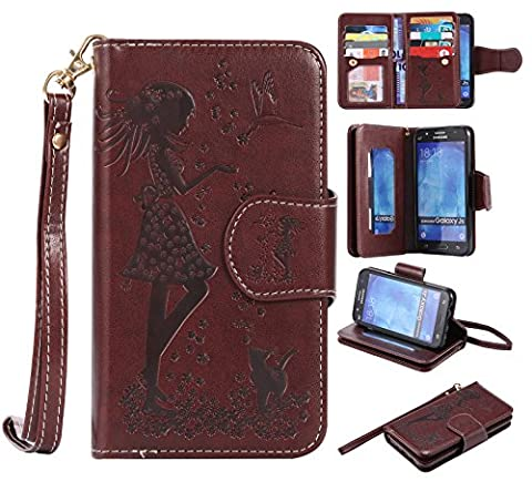 Samsung Galaxy J5 Case Leather [Cash and 9 Card Slots], Cozy Hut Elegant Woman and Cat Patterned Embossing PU Leather Stand Function Protective Cases Covers with Card Slot Holder Wallet Book Design Fordable Strap Case for Samsung Galaxy J5 / SM-J500F 5,0 Inch -