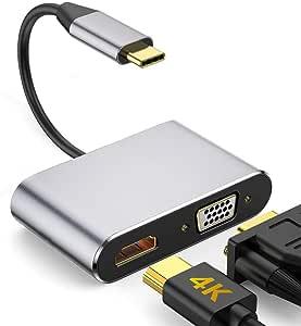 Enisina Usb C Adapter 2 Port Aluminum Usb C Hub Mit 4k Hdmi Vga Für Macbook
