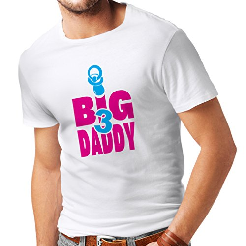 Männer T-Shirt geschenke für papa Vati von 3 Kindern Geschenk für Männer Vatertagsgeschenke Weiß Magenta