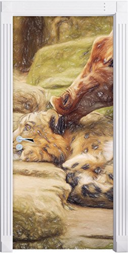 stuffed-santander-leopard-et-giraffe-art-effet-de-crayon-comme-mural-format-200x90cm-cadre-de-porte-