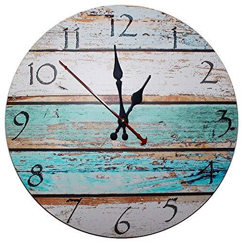 Kurtzy 30cm Wanduhr aus Holz - Vintage Uhr mit Römischem Zifferblatt und Shabby Chic Design mit leisem Quartz-Uhrwerk - Antike Schicke Dekorative Runde Holz Wanduhr - für Wohnzimmer, Küche, Schlafzimmer, Badezimmer - Retro Wanddeko Ziffernuhr -