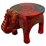 #3: Exclusive Jaipuri Handicrafted Gifts For All Occasion | Hand Carved Mango Wood Stool For Multi-Purpose Uses -101