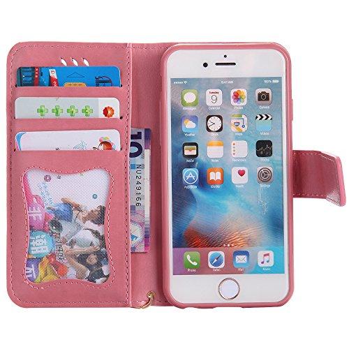 UKDANDANWEI Apple iPhone 7 Hülle Case, Nacht-Leuchtende Schutzhülle Frau Katze Muster Hülle mit Kartenfächer und Magnetverschluss für Apple iPhone 7 - Grau Rosa