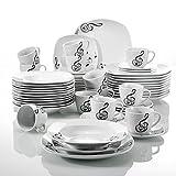 Veweet 'Melody' Porcellane in porcellana da 60 pezzi Il servizio combinato tazze da caffè 175ml, piattino, piatti da dessert, piatti da portata e piatti a base di zuppa per 12 persone