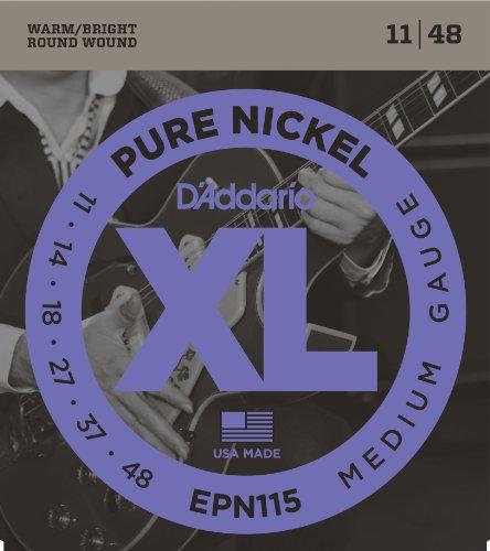 D'Addario Cordes en nickel pur pour guitare électrique D'Addario EPN115, Blues/Jazz Rock,...