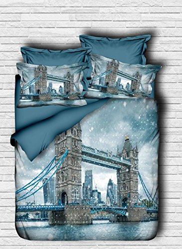 3D bekata Bedruckte City Serie, London Tower Bridge Mottoparty,% 100Baumwolle Doppelbett/Queen Size, Bettdecke/Bettbezug-Set wendbar, Tröster enthalten 5PCS, baumwolle, blau, Queen (Tröster Tower)