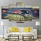 WFLWLH Bilder Leinwandbild - 5 Teilig Leinwanddrucke New England Patriots Stadium Poster für Wohnzimmer Leinwand Malerei Wandbilder von Leinwand Kunst-B2 Rahmen