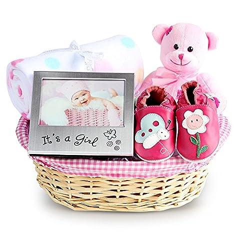 Girl's Beautiful Newborn Baby Gift Basket, Newborn Baby Hamper, Baby Shower Ideas, Christening Gifts, Maternity