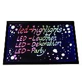 LED-Highlights Deko Leuchtschild Reklame Tafel 60 x 40 cm Controller 7 Led Farben Leuchttafel Werbeschild 8 Neon Stifte Buchstaben bunt beschreibbar