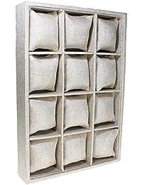 Expositor para relojes de tela de saco color marrón - 12 Esponjas (35 x 24 x 5,5 cm) - Christian Gar