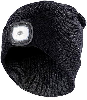 Lunartec Mütze Licht: Schwarze Strickmütze mit LED-Licht, Batteriebetrieb (Stirnlampen) von Lunartec auf Outdoor Shop