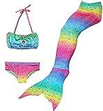 FANCYINN Meerjungfrau Fosse Zum Schwimmen Kinder Meerjungfrauenflosse Kostüm Mädchen Badeanzug 3pcs Bikini Sets
