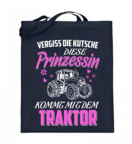 Hochwertiger Jutebeutel (mit langen Henkeln) - Landwirtschaft Shirt · Diese Prinzessin kommt mit dem Traktor · Geschenk mit Motiv für Landwirt Frauen Deep Blue