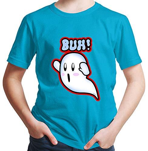 Batman Größe Kostüm Plus - HARIZ  Jungen T-Shirt Geist Buh Süss Halloween Kostüm Verkleidung Karneval Plus Geschenkkarte Azur Blau 116/5-6 Jahre
