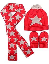 49ac8a098e8 Bonnet Echarpe Gants en Coton Tricoté Hiver Chapeau Chaud Rouge Ensemble 3  Pcs pour Enfant Bébé
