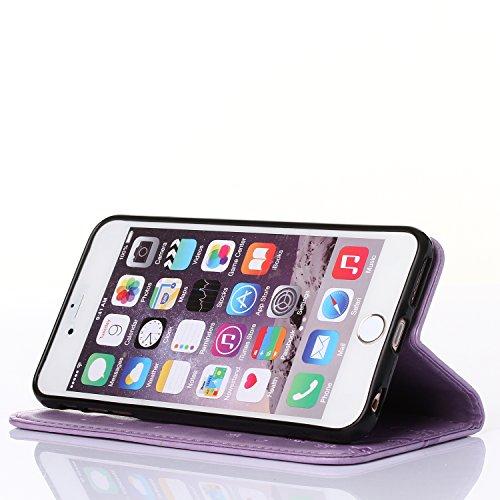 WindCase iPhone SE Coque, Embossed Fiore Motif Portefeuille Housse en Cuir Étui à rabat Case de Protection avec Béquille pour iPhone SE / iPhone 5 5S Marron Violet clair