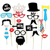 #2: Smartcraft Just Married Photo Booth Props - Black , Wedding Marriage Party Photo booth Selfie Props