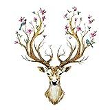 'pared sticker4u de pared XL 'en primavera Blühende ciervo para pared de cabeza de ciervo Animales Reno con flores y pájaros, 97x 81, decoración para salón gästezimmer Piso Gross