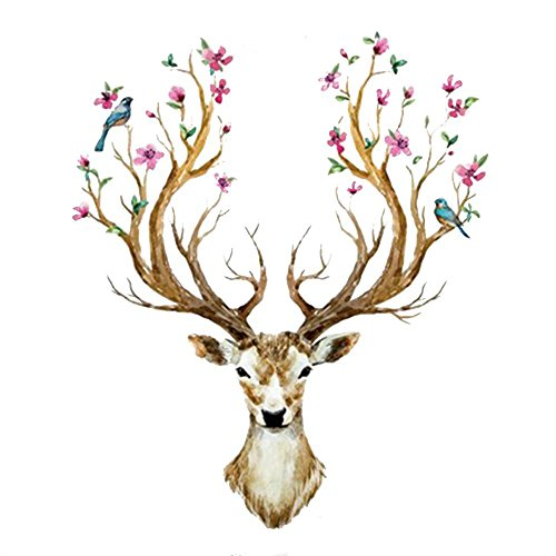 deer-wall-sticker4u-in-spring-flowering-deer-antlers-97x81-cm-deer-flower-floral-bird-wall-stickers-
