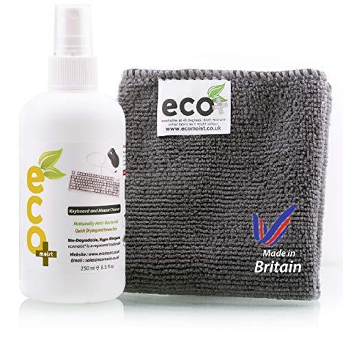 Ecomoist Natürliche Tastatur und Maus Reiniger 250Ml Am besten für Tastaturen Mäuse Pads Joysticks Spielkonsolen Made in England Eco-Friendly -