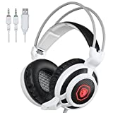 SADES Arcmage 3.5mm PC Gaming Headset Headphones with Microphone Volume Control Noise Canceling LED light for PC/Notebook/Laptop(White)