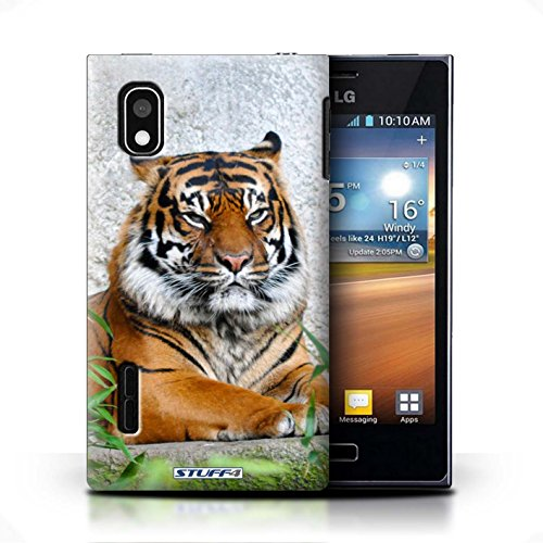 KOBALT® Hülle Case für LG Optimus L5/E610 | Krokkodil/Alligator Entwurf | Wilde Tiere Kollektion Tiger