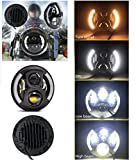 #8: AutoSun 7inch Round Hi/Lo Cree LED Headlights with DRL & Halo Angel Eyes & Turn Signal for Royal Enfield Classic 350/500 CC/Classic Chrome/Electra ,350/500/Standard 350/500 CC