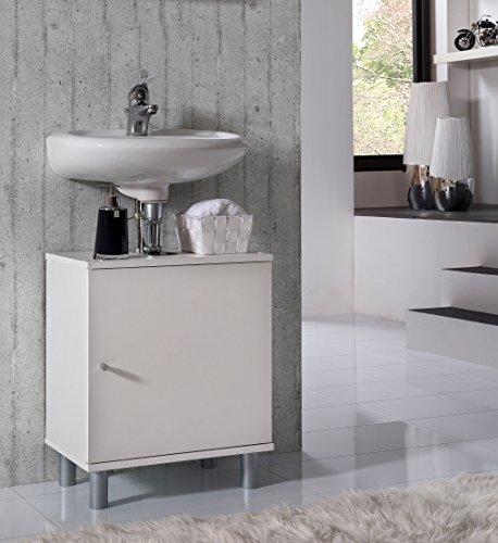 VCM Bad Unterschrank Waschtisch Waschbecken Badschrank Regal Wento 55x45x32 Badezimmer Schrank Weiß -