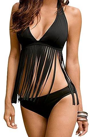 SaySure - Bikini V Neck Fringe Tankini Set (Asian Size) (SIZE : L)