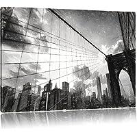 Manhattan al tramonto effetto disegno a carboncino, formato: 120x80 su tela, XXL enormi immagini completamente Pagina con la barella, stampa d'arte sul murale con telaio, più economico di pittura o un dipinto a olio, non un manifesto o un